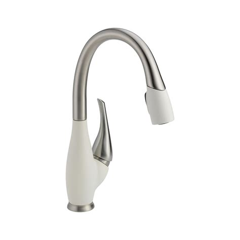 delta 9158 sw dst fuse single handle pull down kitchen faucet in stainless white homeclick com