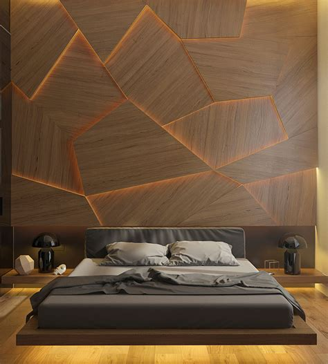 wood panel accent wall this bedroom has a geometric back lit wood accent wall