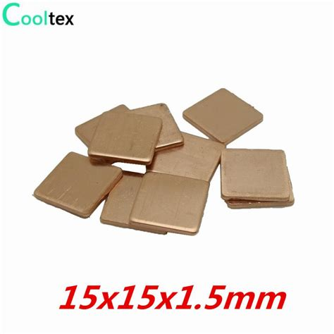heat sink sheet 20pcs lot 15x15x1 5mm copper shim heatsink thermal pad