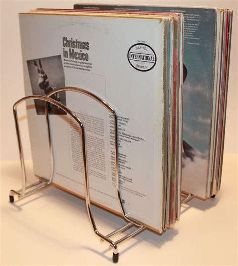vintage lp vinyl record metal storage rack stand crate