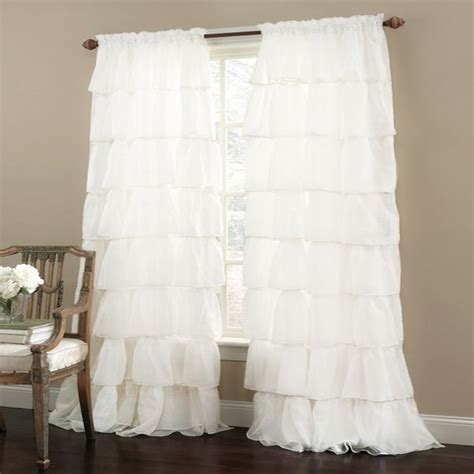 White Ruffled Curtains For Nursery Shabby Chic Ruffled Curtain I Like