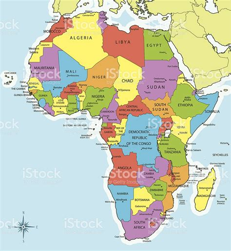 africa map cities africa map countries and cities stock vector 455468023