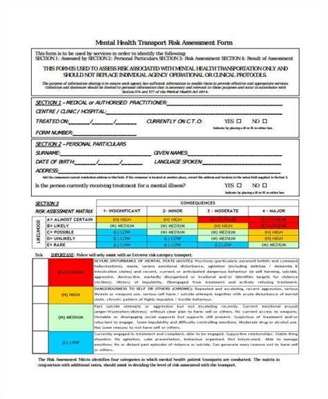 risk assessment template mental health mental health risk assessment form 27 sle assessment