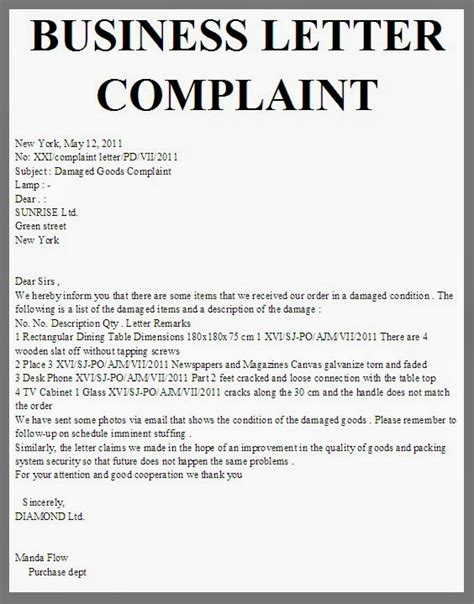 Complaint Letter Keywords business letter complaint new york may 12 2011 no xxi
