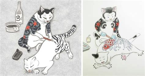 tattoo artist named cat cats tattooing each other in surreal japanese ink wash