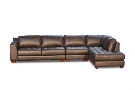 Top Grain Leather Sectional Sofa Mocca Top Grain Leather Modern Zen Sectional Sofa W Options