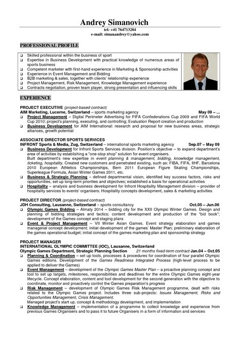 Sports Management Resume Sles The Best Resume Sports Management Resume Template