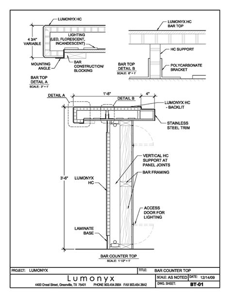 bar section drawings for a variety of applications lumonyx detay