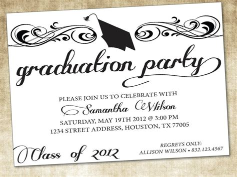 word templates for graduation party invitations graduation invitation template word cobypic com