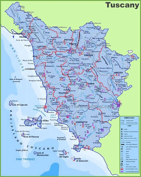 maps with towns large detailed travel map of tuscany with cities and towns
