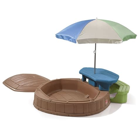 step 2 sandbox with bench and umbrella naturally playful summertime play center kids sand
