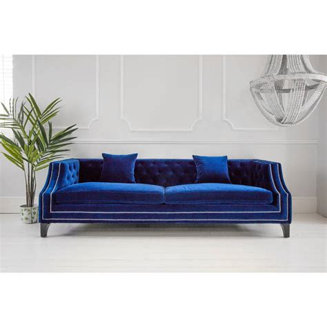 Luxury Sectional Sofa Imperial Blue Velvet Sofa Luxurious Statement Sofa