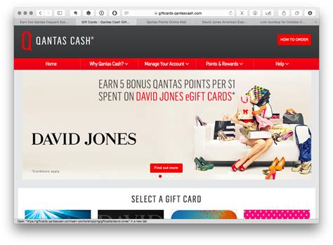 David Jones Online Gift Card - get up to 5 qantas points per for buying vouchers for myer david jones jb hifi and