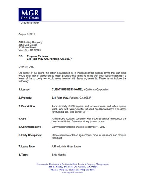 Lease Offer Letter Sle Submittal Of A Letter Of Intent Commercial Real Estate Inland Empire