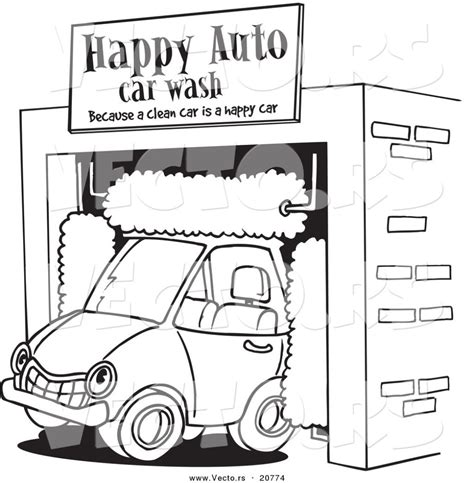 car wash coloring pages vector of a car driving through an auto wash