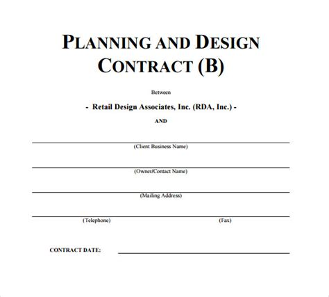 interior design contract template 10 download free