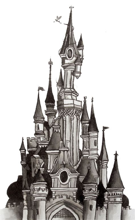 disney castle floor plan architectural ink drawing illustration of the disneyland