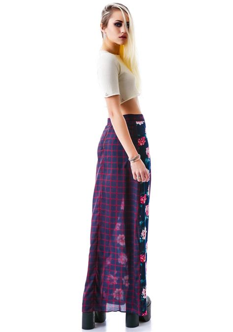 Maxi Peony peony plaid maxi skirt dolls kill