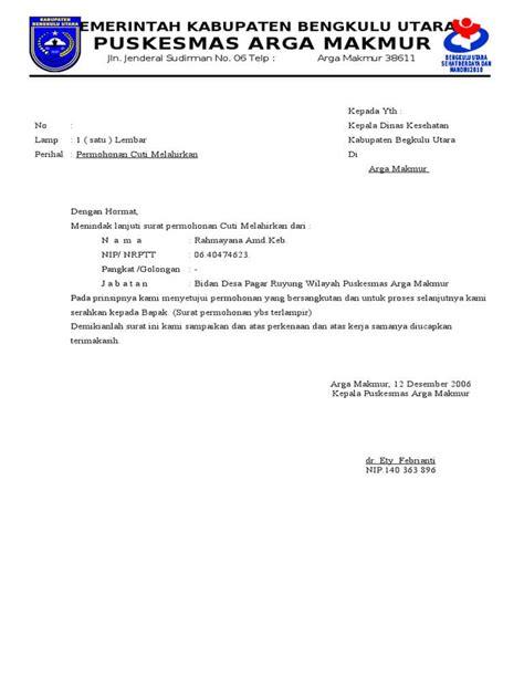 Surat Dinas Pegawai Negeri by Contoh Surat Cuti Melahirkan Yang Baik Dan Benar Untuk