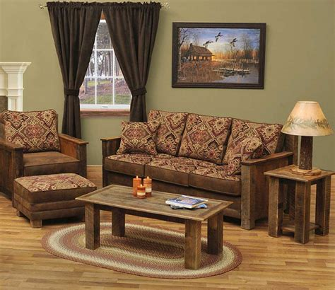 rustic living room furniture sets with brown and red sofa