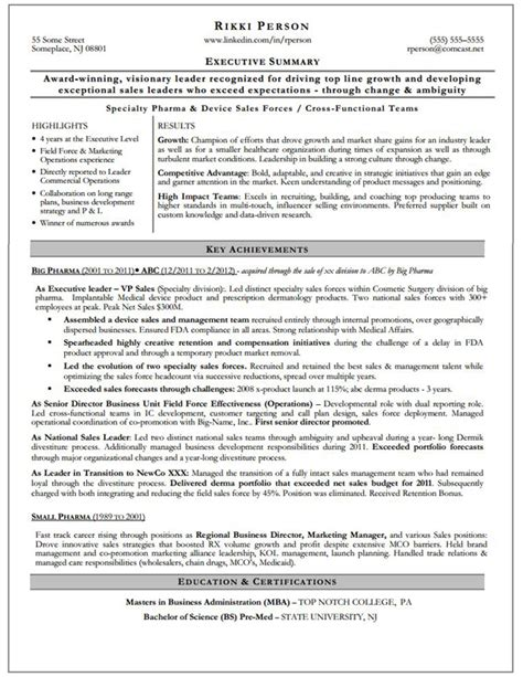 Executive Summary Resume by Gallery Of Executive Summary Resume Exles