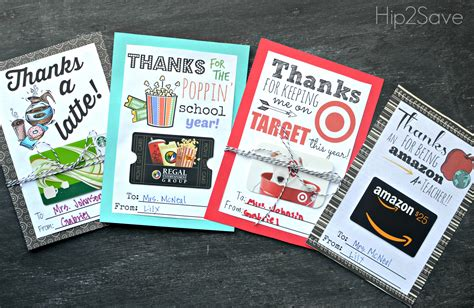 Downloadable Gift Cards - free printable gift card holders for teacher gifts hip2save