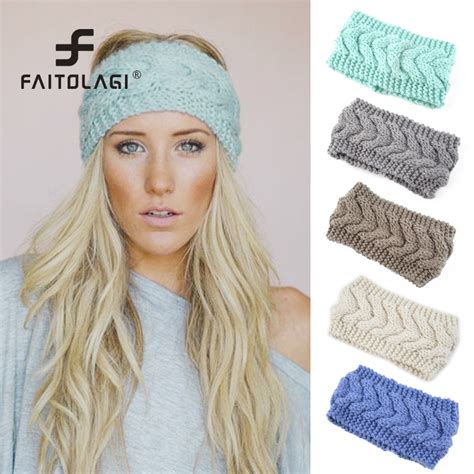 23 colors knitted turban headbands for winter warm solid wide knitted hairbands winter warm ear crochet