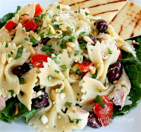 greek pasta salad recipe greek chicken pasta salad with feta and herbs from liz at
