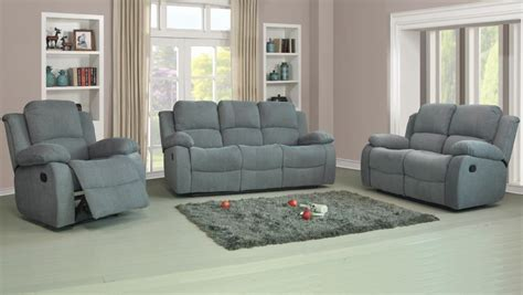 Recliner Sofas Fabric 3 2 1 Charcoal Or Light Grey 3 Piece Fabric Recliner Sofas Sale