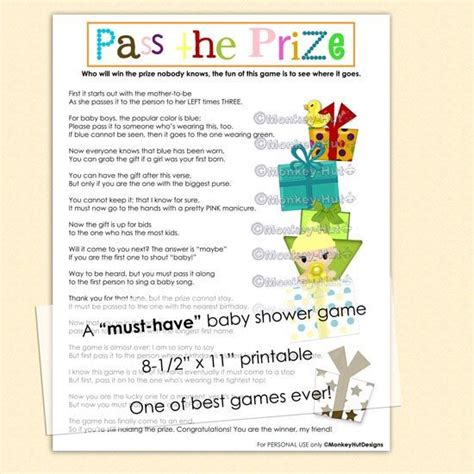 Baby Shower Pass The Gift Poem by Pass The Prize Baby Shower A Must And So Much