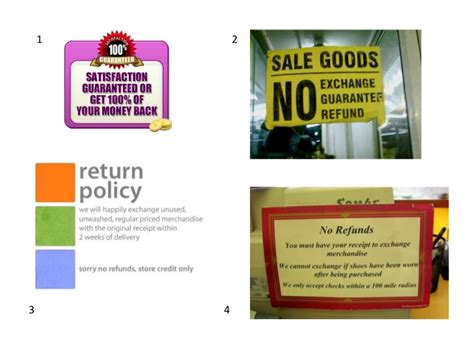 one return policy return policy signs