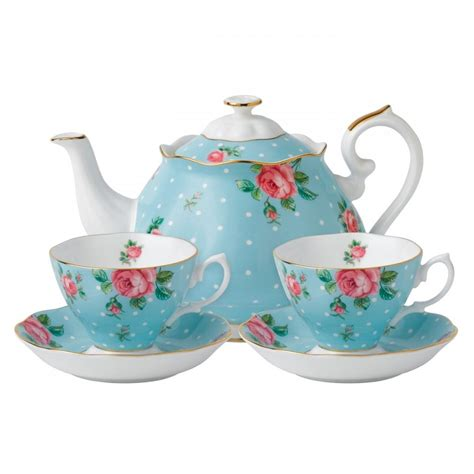 Coffe Set 2 royal albert polka blue tea for two teapot cup and saucer set new in hat box ebay