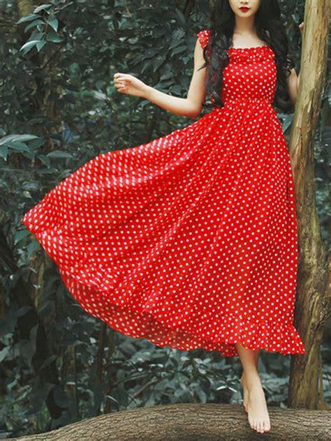 Ruffle Hem Spaghetti Dress polka dot spaghetti ruffle hem dress ruffles