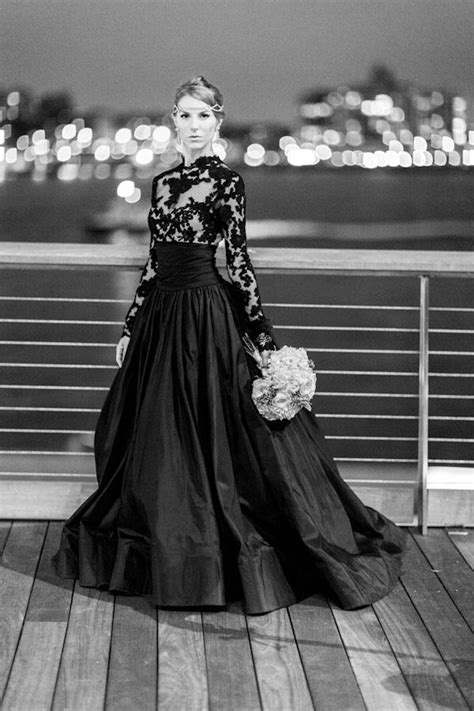 sexy  sophisticated touches  black wedding gowns