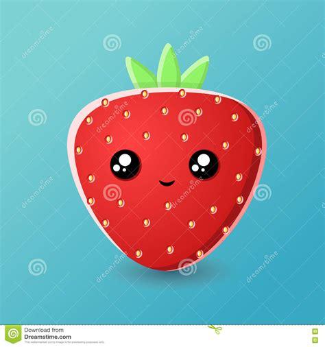 imagenes de fresas kawaii kresk 243 wki truskawki kawaii ilustracja wektor obraz 71762894