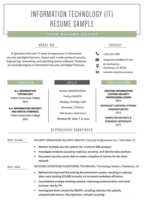 Information Technology It Resume Sle Resume Genius It Resume Template