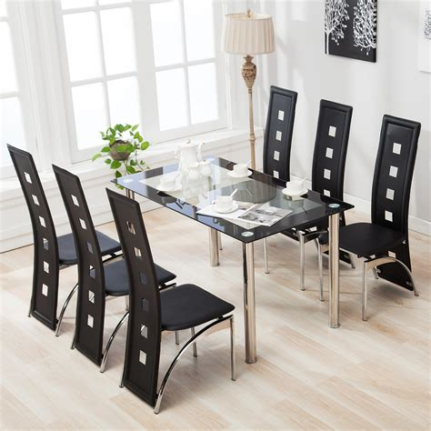 glass table and chairs mecor 7pcs dining table set 6 chairs glass metal kitchen