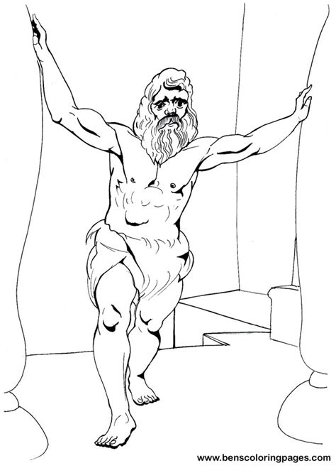 Samson Pillars Coloring Page by Free Coloring Pages Of Samson Bible