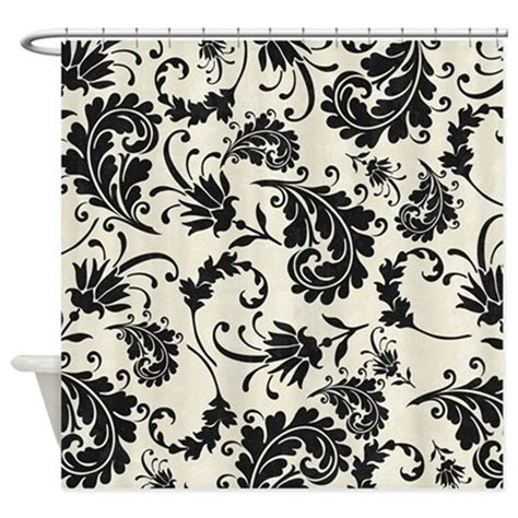 damask shower curtain black and white black and white swirly damask shower curtain by
