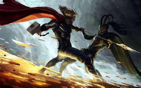 thor vs loki artwork walldevil
