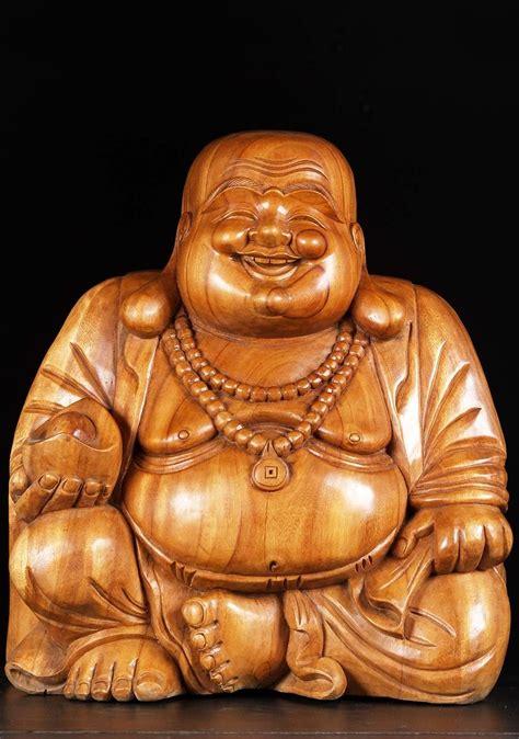 sold natural wooden fat happy buddha   hindu