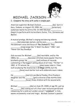 michael jackson biography pictures 93 free esl biography worksheets