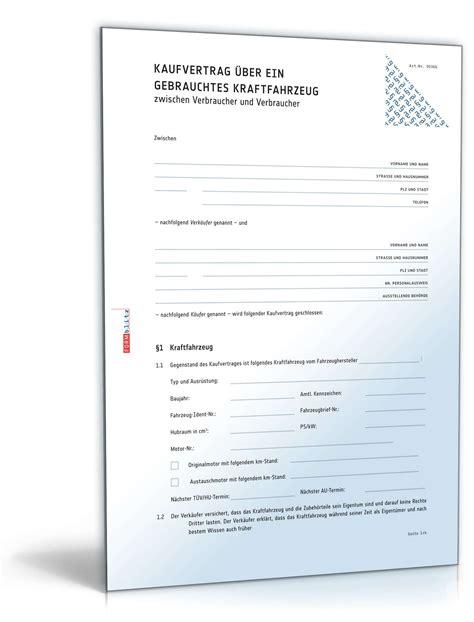 Auto Kaufvertrag Privat Vordruck by Kfz Kaufvertrag Privatverkauf Vorlage Zum