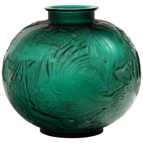 Lalique Green Vase by Ren 233 Lalique Vase Quot Poissons Quot Green At 1stdibs