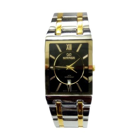 harga mirage date mg9861 jam tangan wanita stainless steel silver gold pricenia