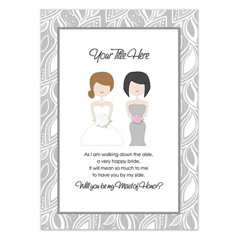 will you be my maid of honor gray invitations cards on