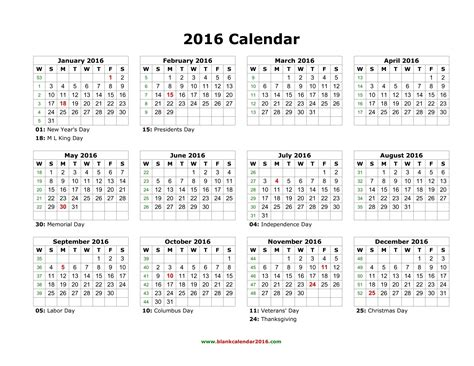 printable calendar 2016 entire year 2016 yearly calendar with holidays printable calendar