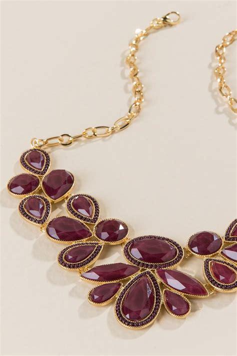 darcie mixed shape statement necklace in burgundy