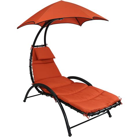 Lounge Chair Canopy by Sunnydaze Chaise Lounge Chair With Canopy Removable Pad
