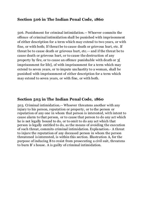 section 511 of indian penal code section 506 503 509 in the indian penal code